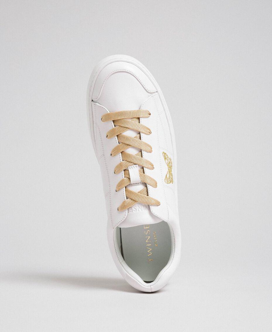 Sneakers in pelle con ricamo a farfalla Bianco Donna 192TCP06A-01