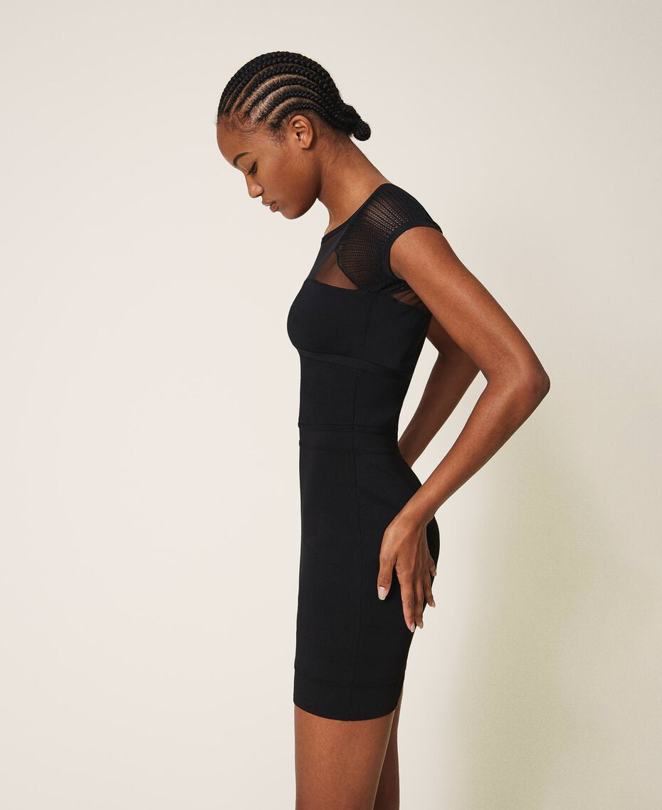 Knit sheath dress with tulle Black Woman 202MT3010-02