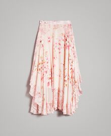"""Floral print georgette long skirt """"Blossom / Peach Mix"""" Pink Print Woman 191TP2719-0S"""