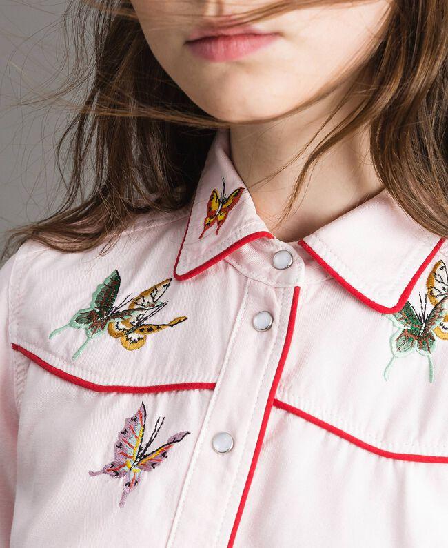 Chemise en denim ornée d'un papillon Perle Rose Femme 191TP2630-04
