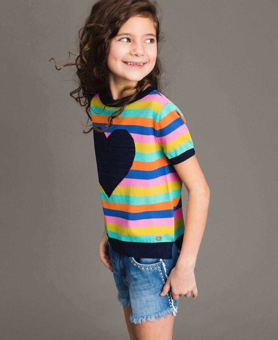 Multicolour striped cotton jumper Multicolour Striping Child 191GJ3070-02