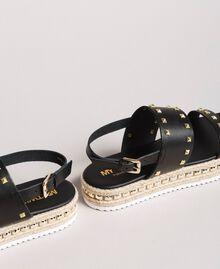 Sandales compensées à clous Noir Femme 191MCP230-02
