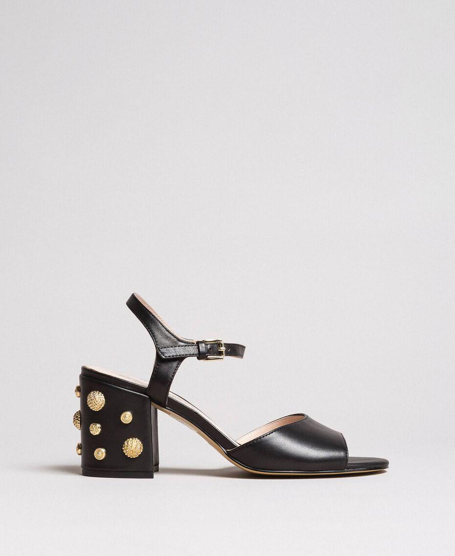 Босоножки из искусственной кожи с ювелирным каблуком Черный женщина 191MCP04A-03