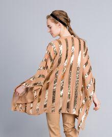 Poncho aus Georgette mit Pailletten Camel Frau PA82J4-02