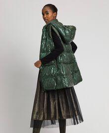 Gilet rembourré avec broderie de sequins Vert «Forêt» Femme 192ST2051-01