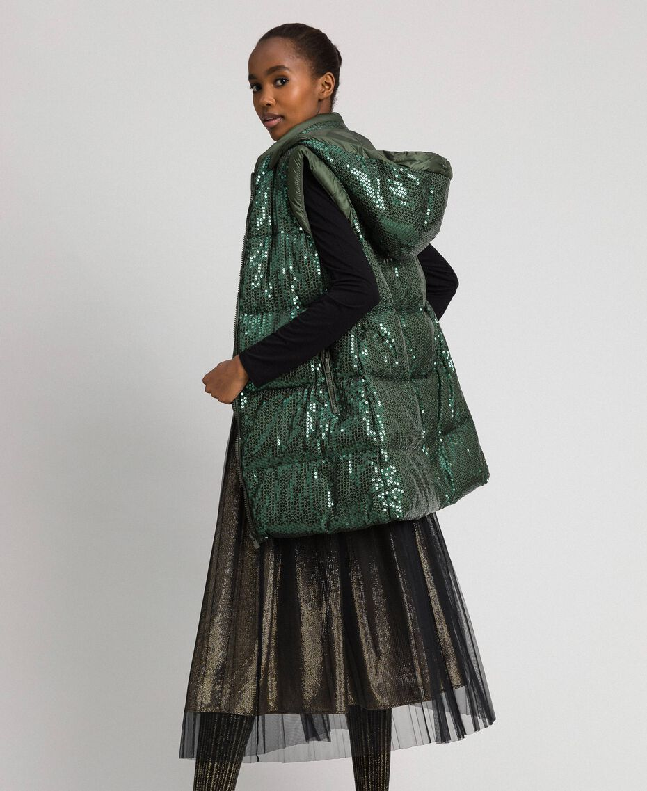 """Padded waistcoat with sequin embroidery """"Forest"""" Green Woman 192ST2051-01"""