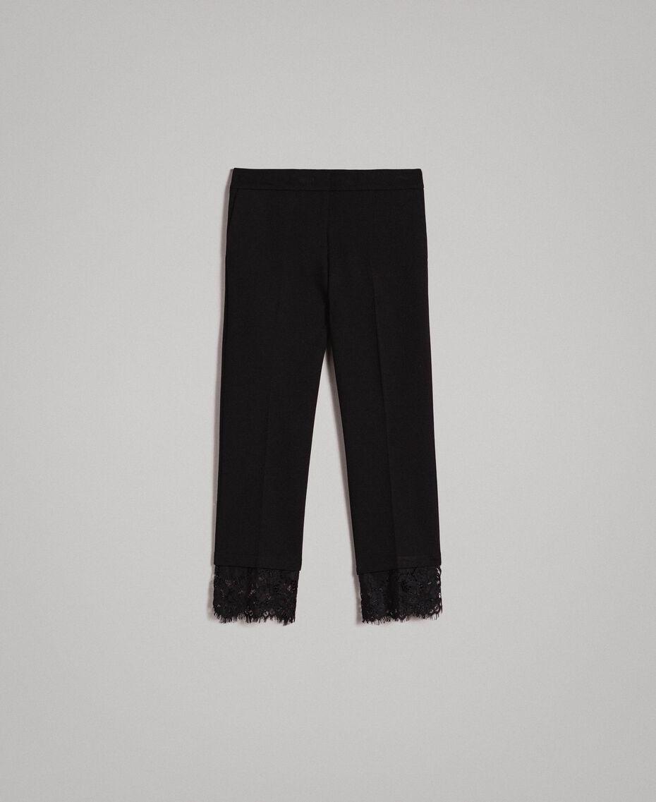 Pantalon en point de Milan et dentelle Noir Femme 191TP242H-0S