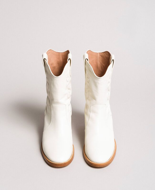 Leather cowboy boots with embroidery White Snow Woman 191TCP038-04