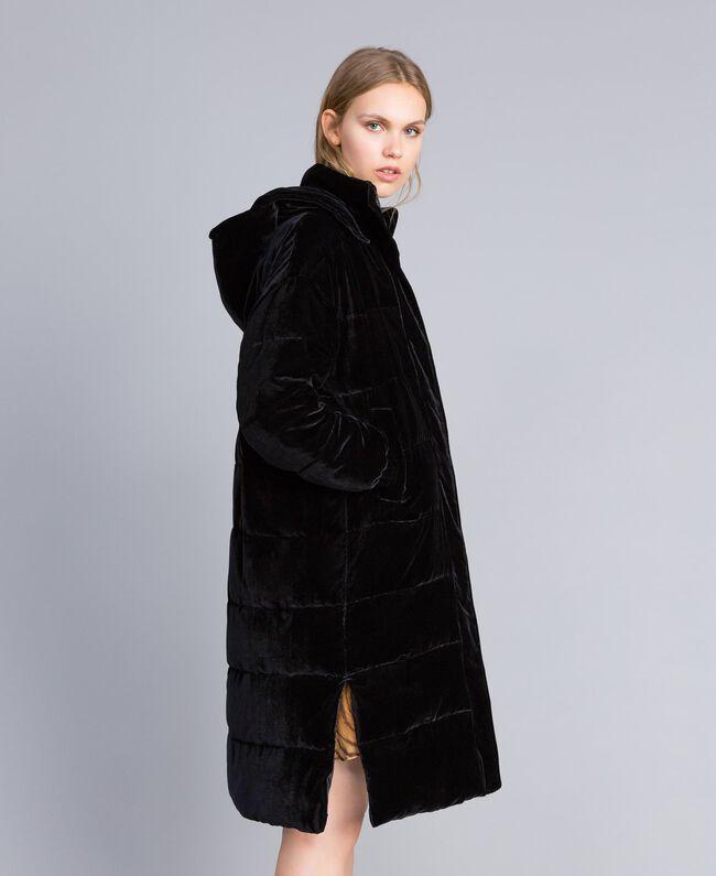Doudoune longue en velours Noir Femme TA82BB-04