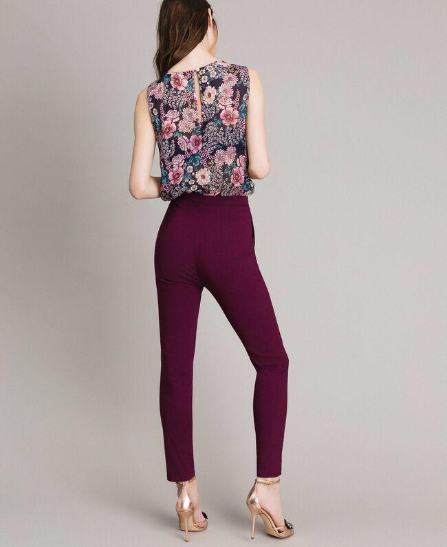 "Chiffon jumpsuit with shawl print ""Psychedelic Pink"" Fuchsia Scarf Print Woman 191LB2HGG-03"