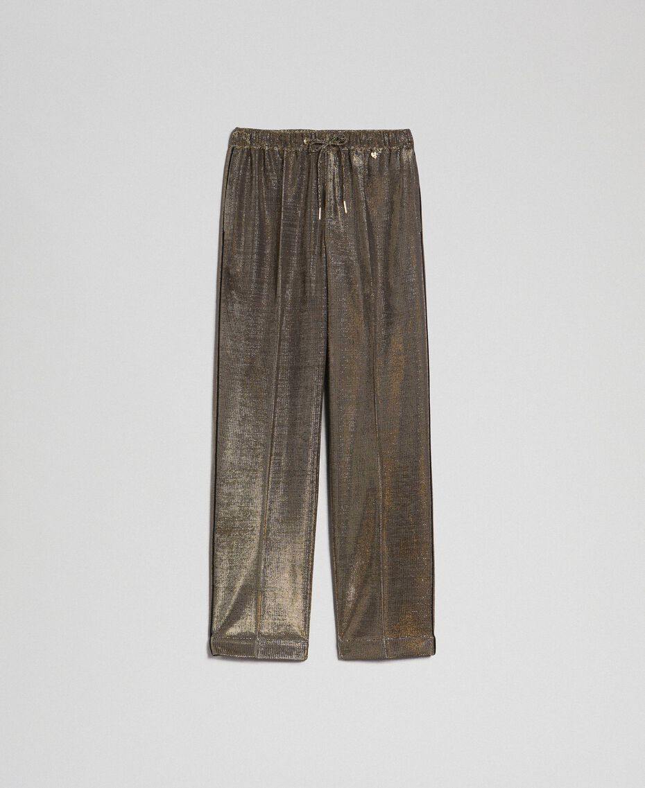 Metal effect trousers Black Gold Woman 192MT2191-0S