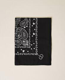 Tuch mit Bandanaprint und Logo Oval-Print Schneeweiß / Schwarz Frau 212TA404A-01