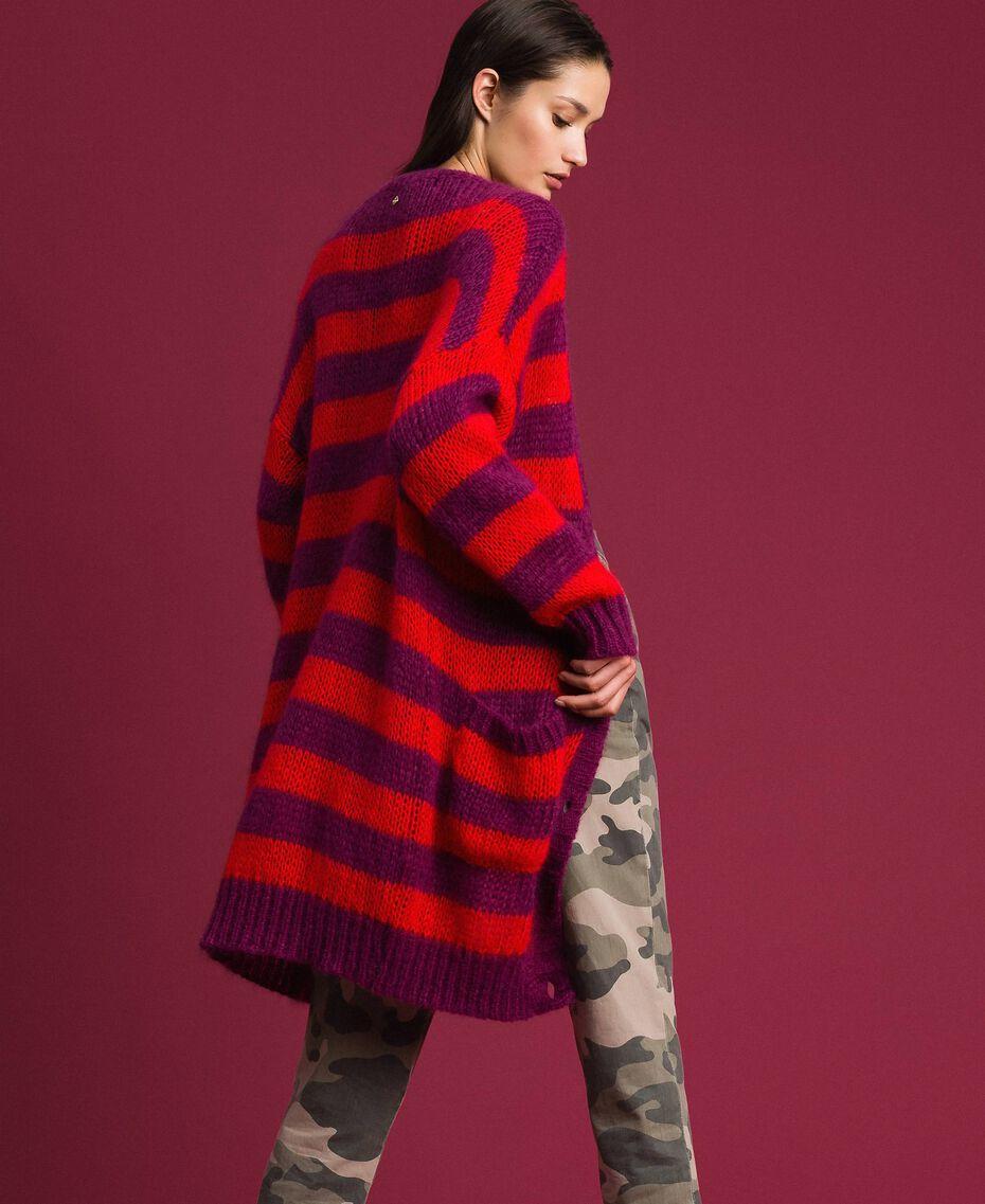 Maxi cardigan en mohair rayé Rayure Rouge Betterave / Grenadier Femme 192TP3272-02