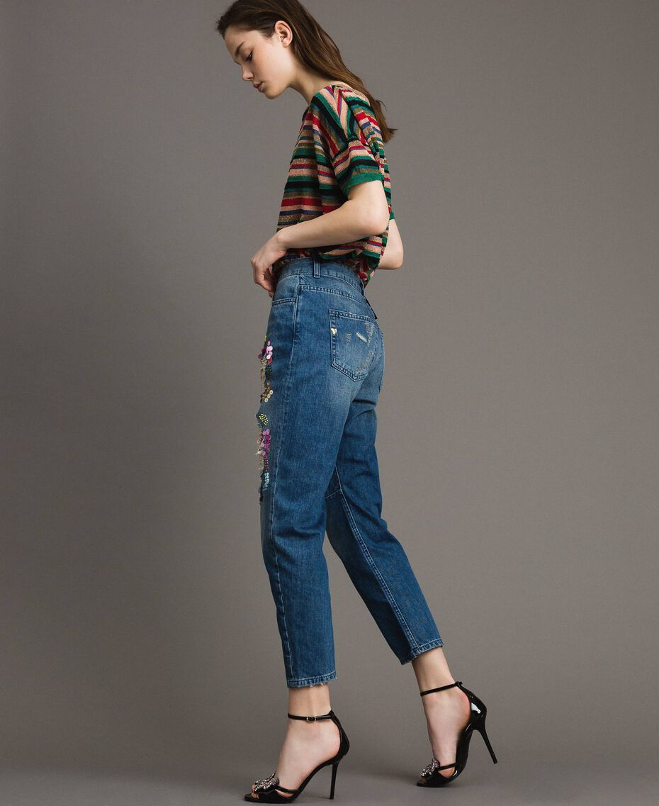 Zerrissene Girlfriend Jeans mit Pailletten Denimblau Frau 191MT2184-02