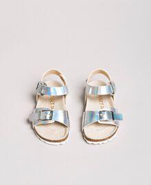 Sandales en cuir laminé Argent / Nickel Enfant 191GCB162-04