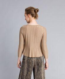 Pullover aus Lurexgarn mit Plissee Lurex Kamelbraun Frau PA83CC-03