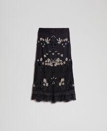 Falda de tul plumetis con bordados florales Negro Mujer 192TT2044-0S