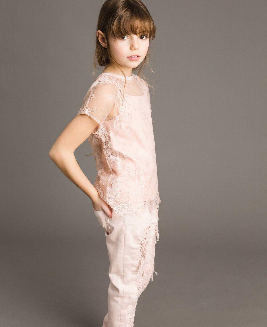 Top in jersey e blusa in pizzo Rosa Blossom Bambina 191GJ2741-0S