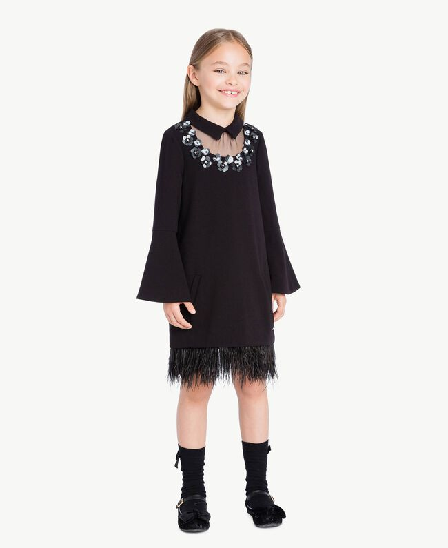 Kleid mit Federn Schwarz GA72M1-01