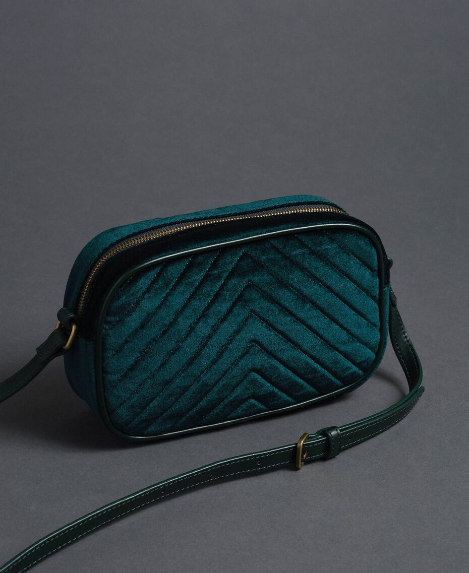 Velvet shoulder bag with butterfly Dark Green Woman 192TA7091-02