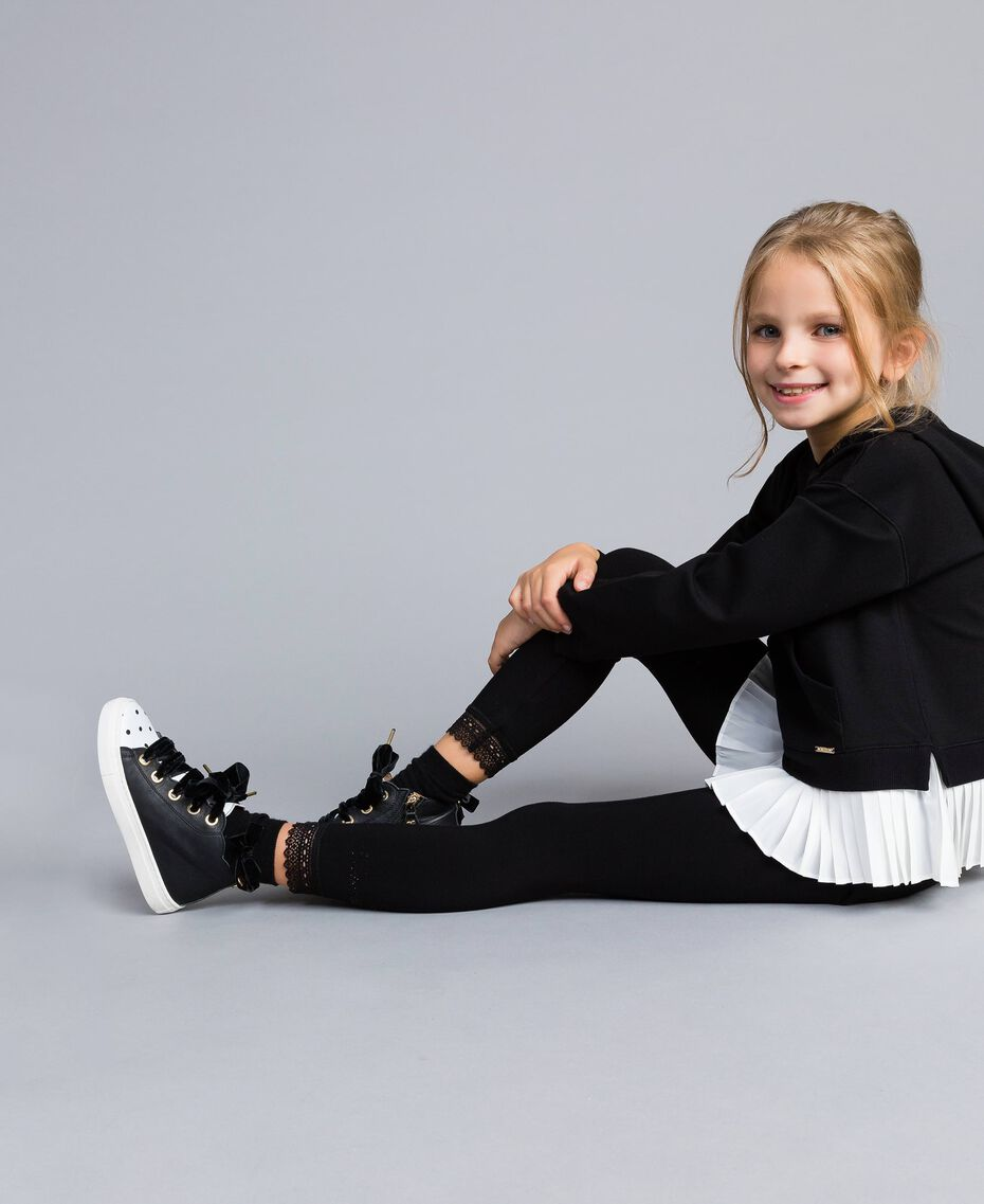 Jersey leggings with lace Black Child GCN2F4-01