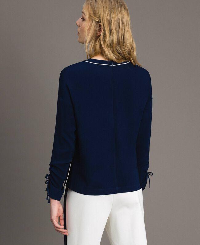 Viskose Georgette-Bluse Midnight-Blau Frau 191TP2321-03