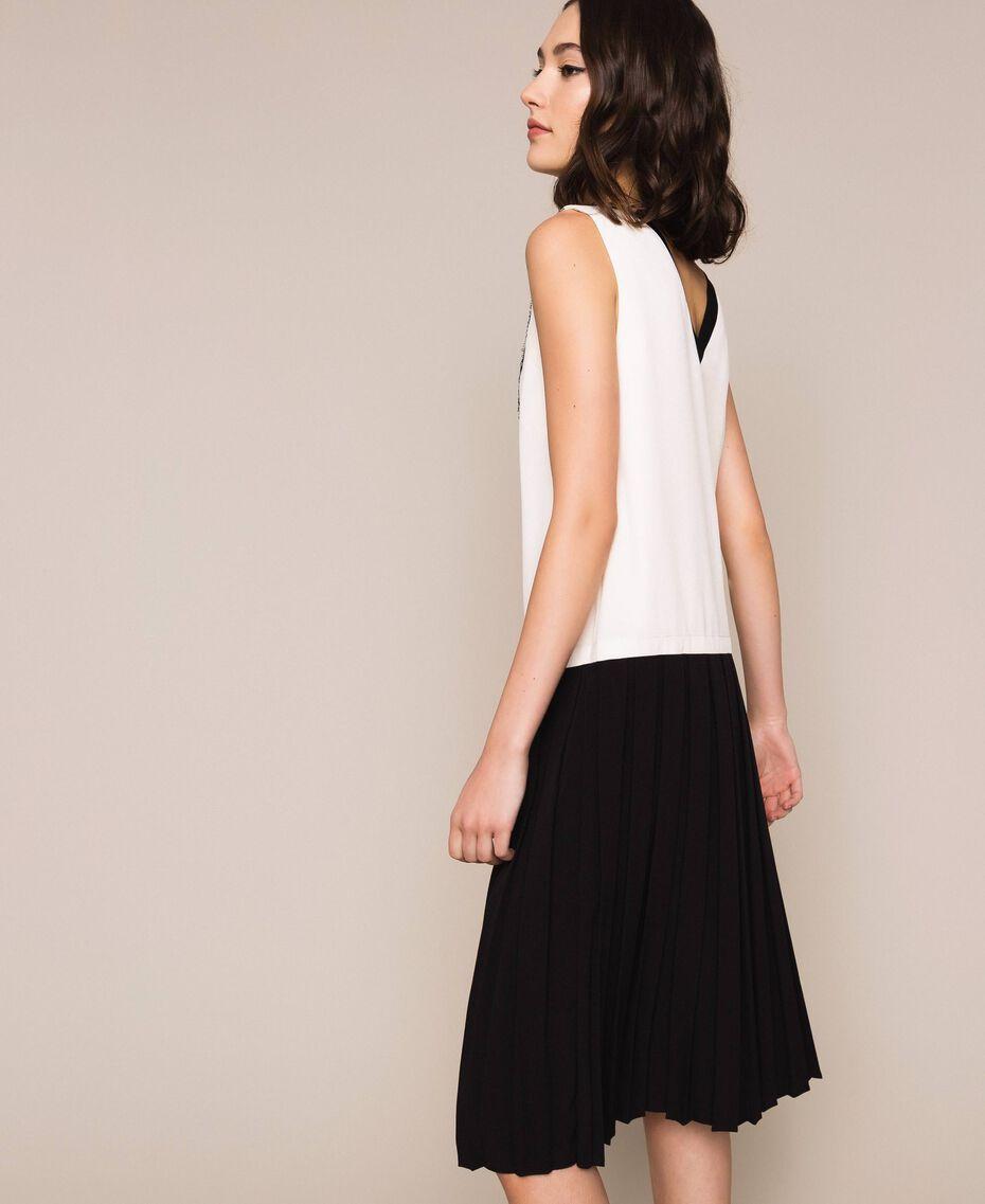 Robe longue en crêpe de Chine avec dentelle Bicolore Blanc «Soie»/ Noir Femme 201ST2010-03
