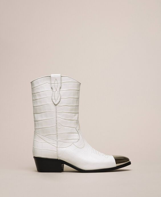 Leather Texas boots with crocodile print