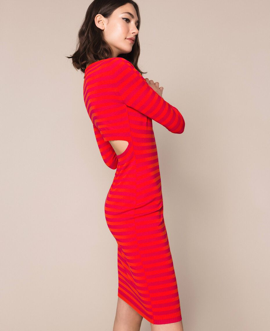 Robe fourreau dos nu à rayures Rayé Rouge «Griotte» / Rouge «Jaspe» Femme 201TP306A-01