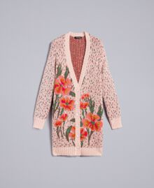 "Long floral and polka dot cardigan ""Pale Pink"" Flower Jacquard Woman TA83CB-0S"