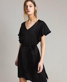 Robe en satin avec ceinture Noir Femme 191TT2450-01