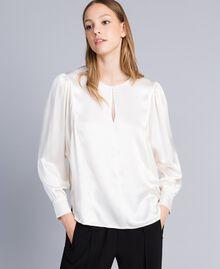 Blouse en satin de soie mélangée Blanc Neige Femme TA82YA-01