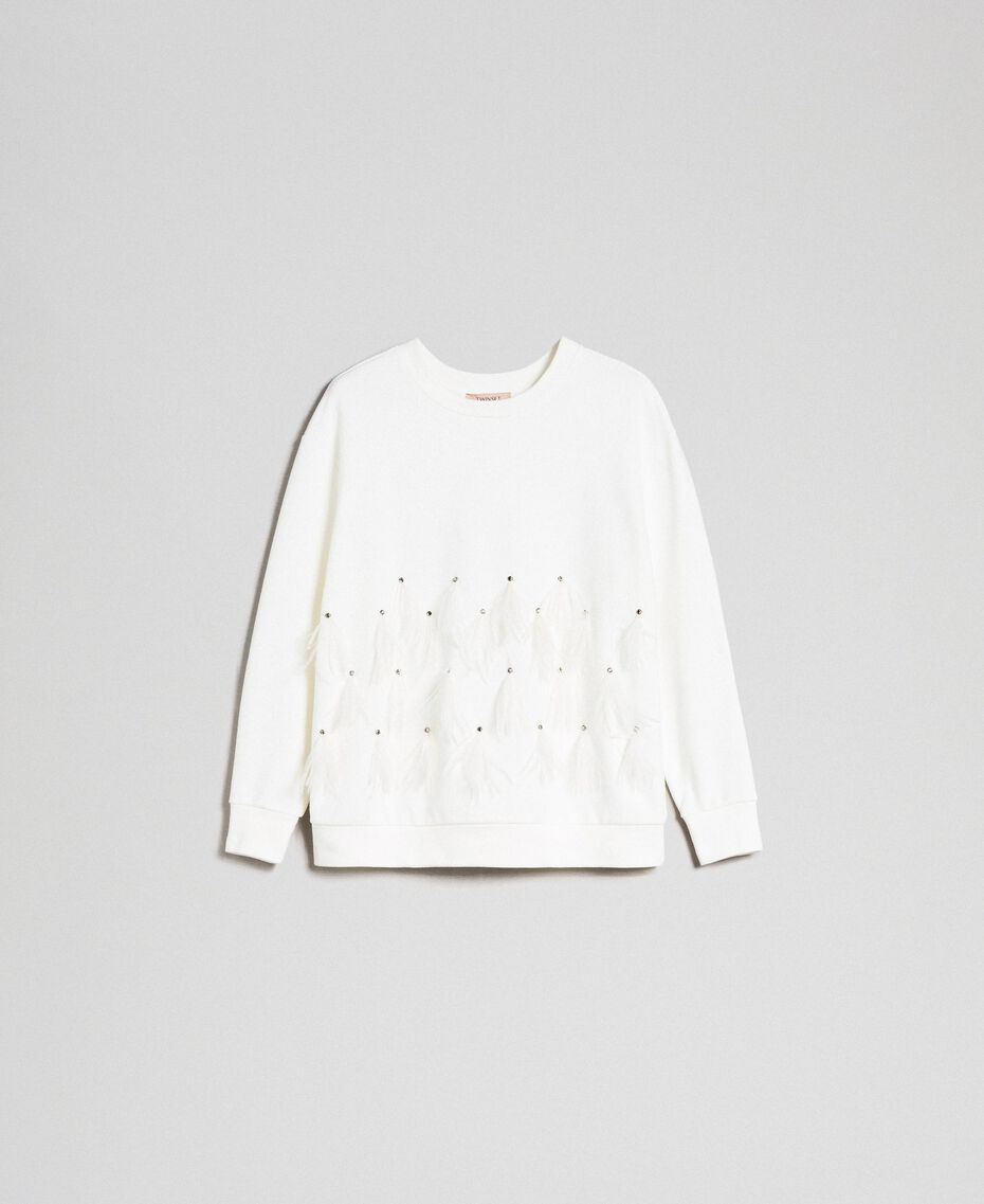 Sweatshirt with stones and feathers Milk White Woman 192TT2131-0S