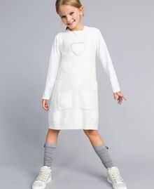 Long knitted gilet with hearts Off White Child GA83DA-0S