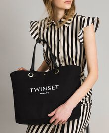 Large canvas shopping bag with logo Black Woman 191TO8202-0S