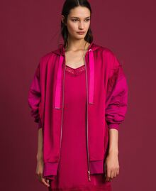 Satin maxi sweatshirt with lace and fringes Red Amaranth Woman 192MP2270-02