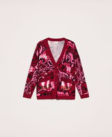 Printed cardigan with sequins Superpink Liberty Print Woman 201ST3162-0S