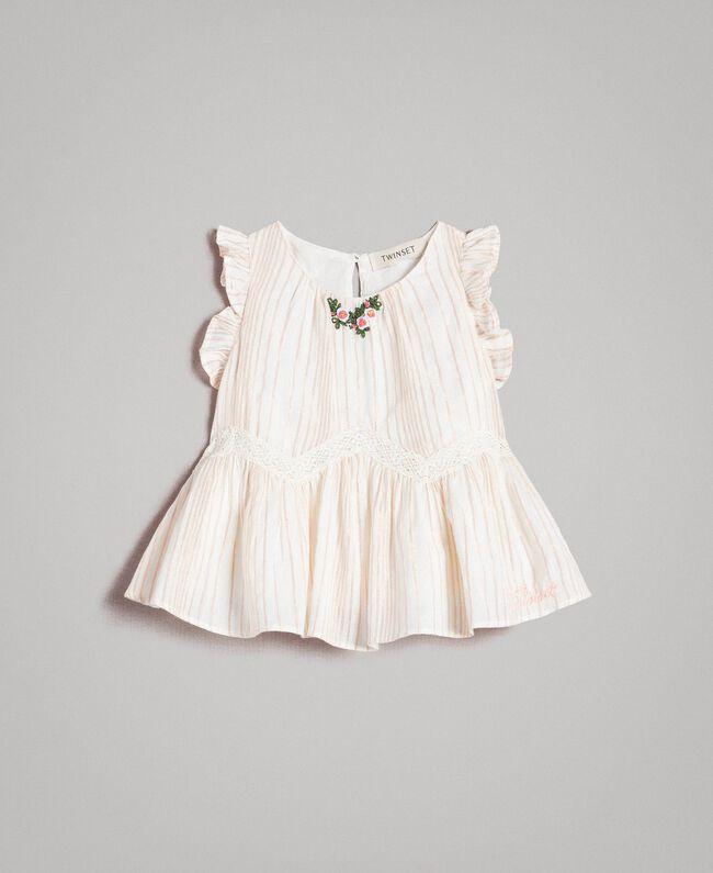"Knitted lurex striped muslin top ""Wooden Stick"" Jacquard Child 191GB2550-01"