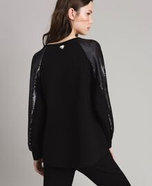 Sweat-shirt en maille avec sequins Noir Femme 191LB22LL-03