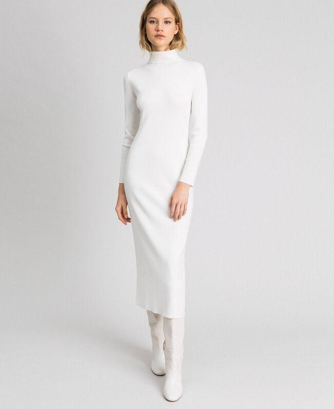Robe longue en maille Blanc Vanille Femme 192MT3014-01