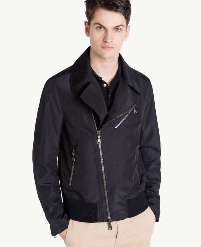 Technical fabric biker jacket Black Man US8232-04