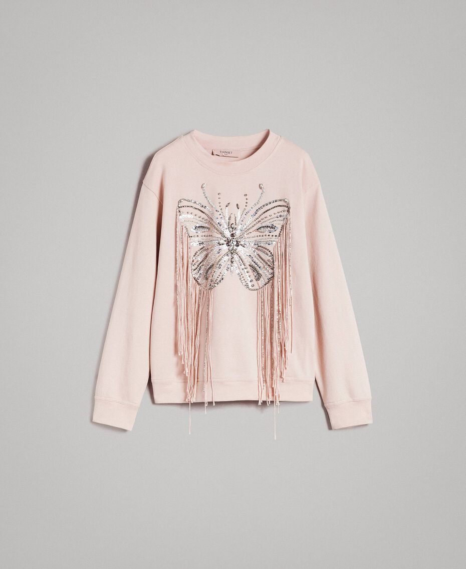 Butterfly embroidery and fringe sweatshirt Bud Pink Woman 191TP2590-0S