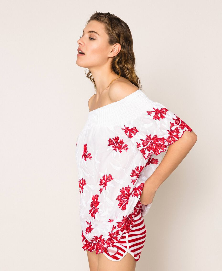 Blouse with contrasting embroidery Two-tone True Red / Optical White Woman 201LM2NAA-01