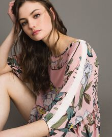 """Floral print georgette tunic dress """"Soft Pink"""" Exotic Print Woman 191ST2222-04"""