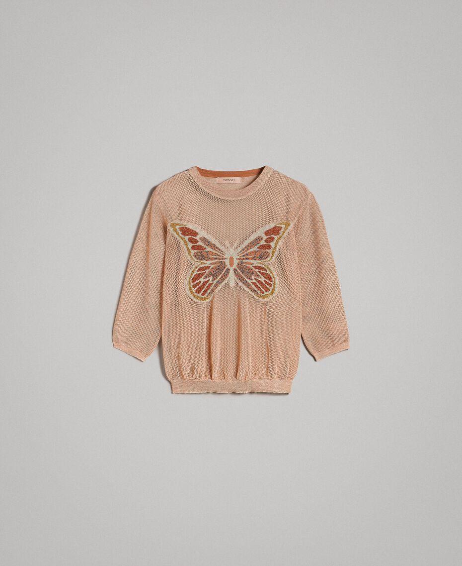 """Pull en lurex avec détail papillon Lurex Rose """"Sable Rose"""" Femme 191TT3101-0S"""