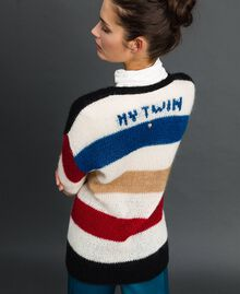 Maxi cardigan with multicolour stripes Vanilla White Woman 192MP3220-03