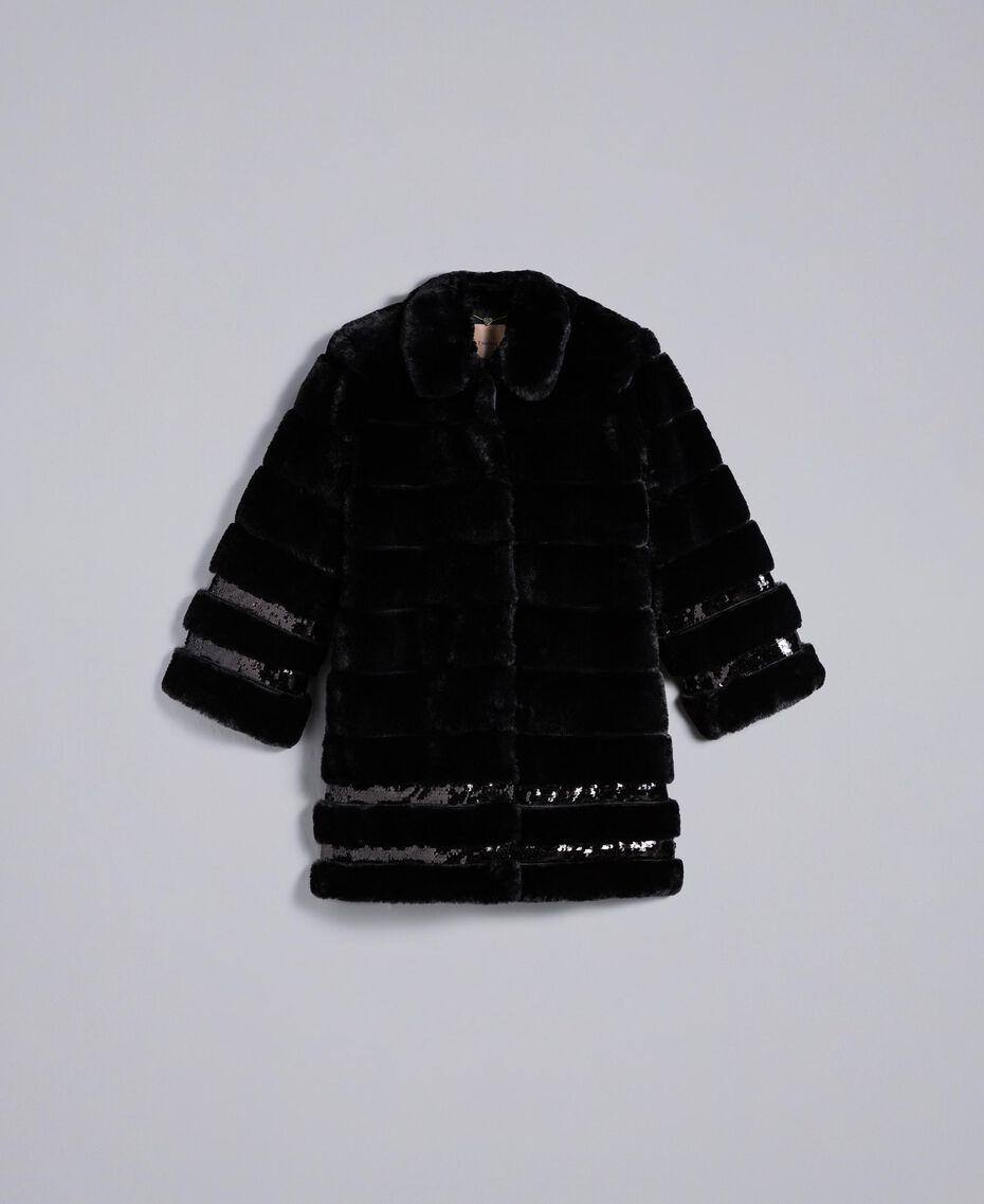 Mantel aus Pelzimitat mit Pailletten Schwarz Frau PA82KB-0S