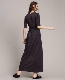 Lurex long dress with slit Black Woman 191LB23EE-03