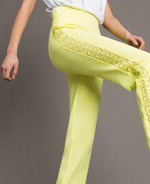"""Pantaloni jogging con bande effetto pizzo Giallo """"Lemon Juice"""" Donna 191LL36CC-01"""