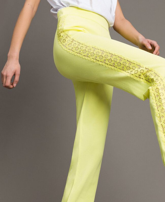 """Jogging trousers with lace-effect panels """"Lemon Juice"""" Yellow Woman 191LL36CC-01"""